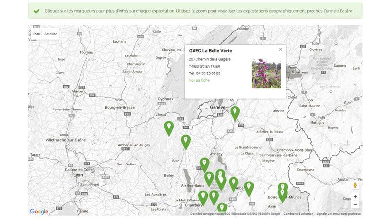 Carte des producteurs de plantes aromatiques des Savoie