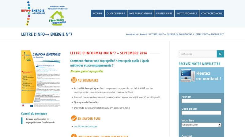 Lettre information Info énergie Bourgogne