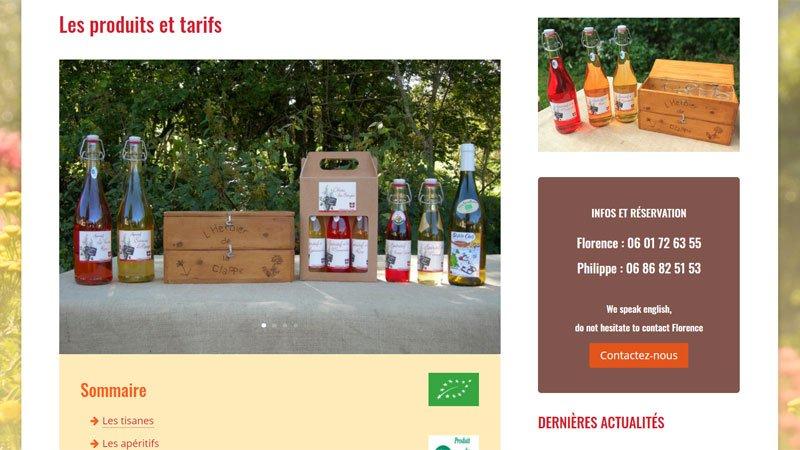 Produits et tarifs Herbier de la Clappe